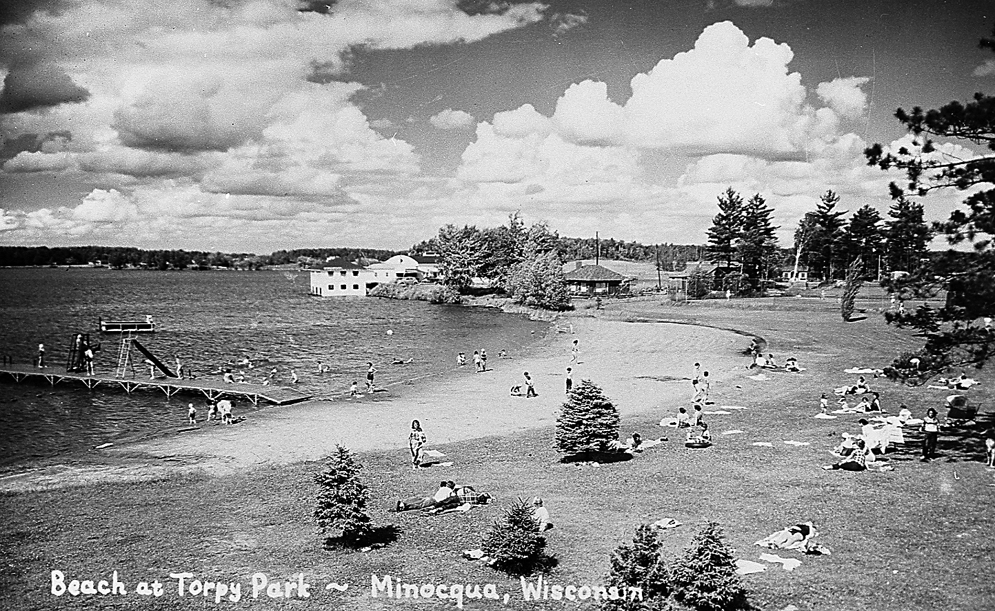 The beach at Torpy Park, Minocqua, in the 1950s. Photo courtesy of Minocqua Museum