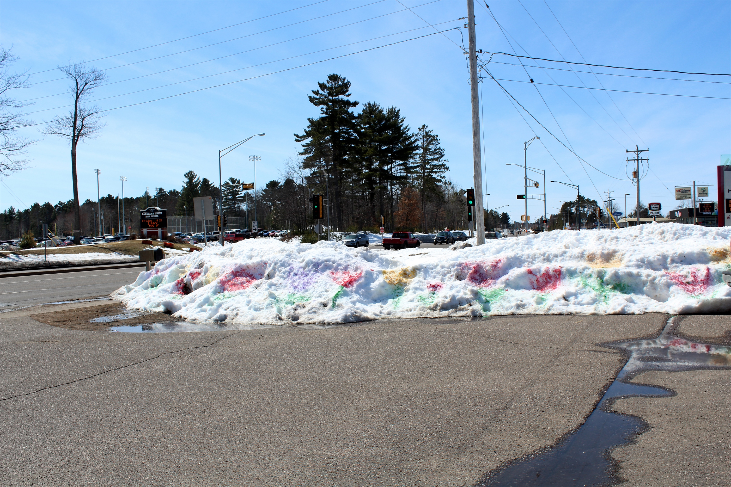 """Tulips"" painted on the snow banks in Minocqua added some color to the landscape. Kim Johnson photo"