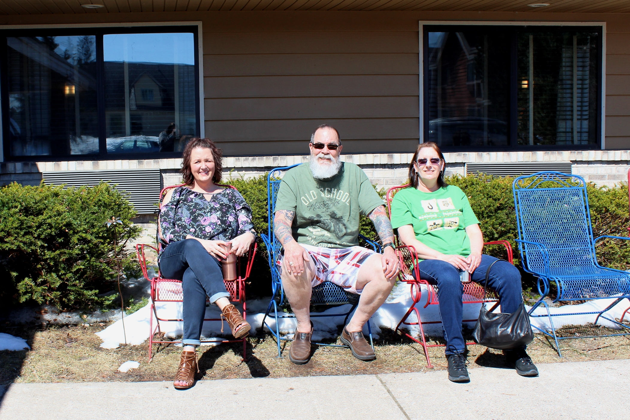 Christy, Wing and Laurie, visiting from Madison and Green Bay, enjoy the sunshine in Minocqua. Kim Johnson photo
