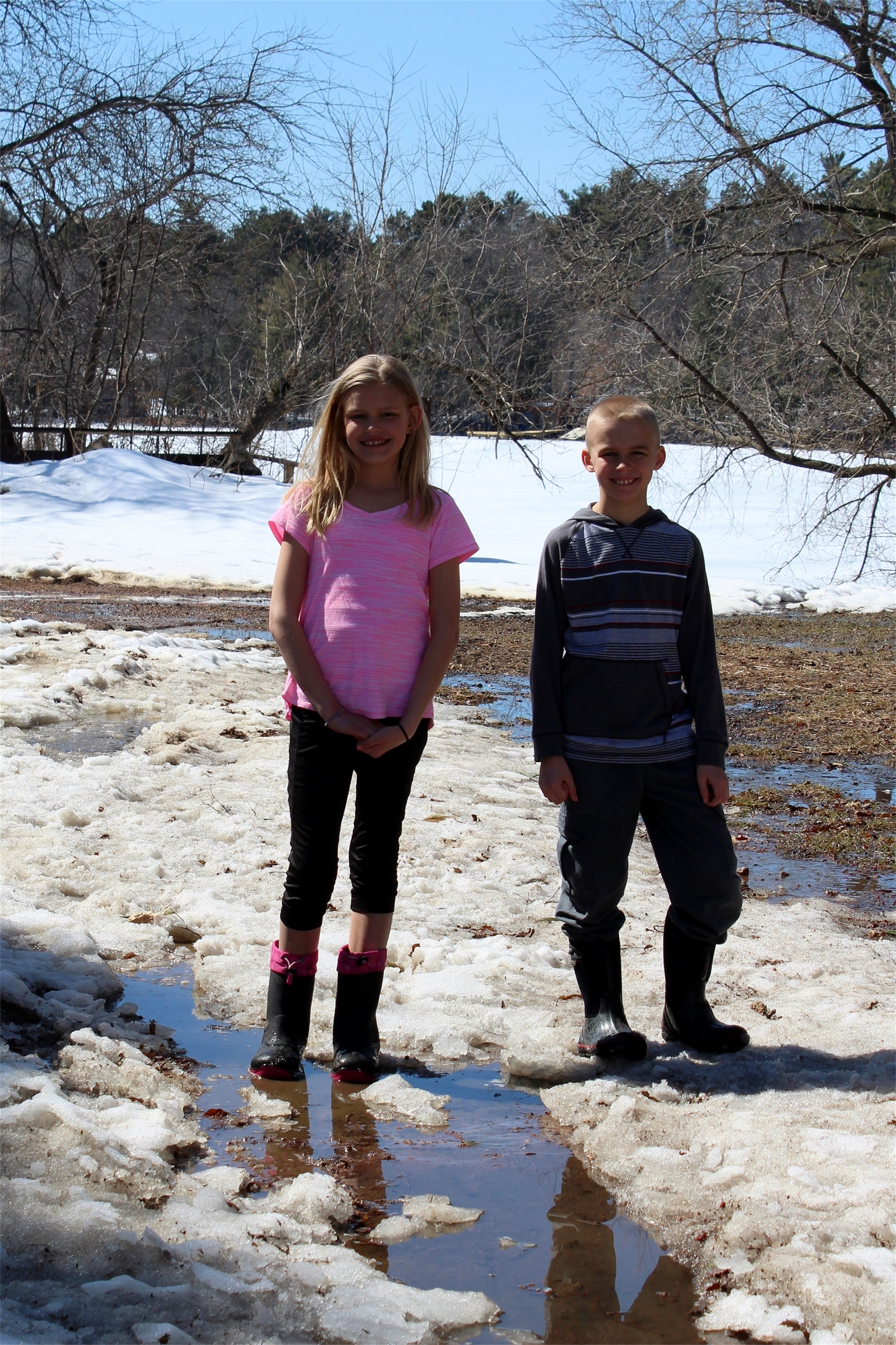 With the snow still on the ground, Adeline and Owen enjoyed the spring-like temperatures in Minocqua. Kim Johnson photo