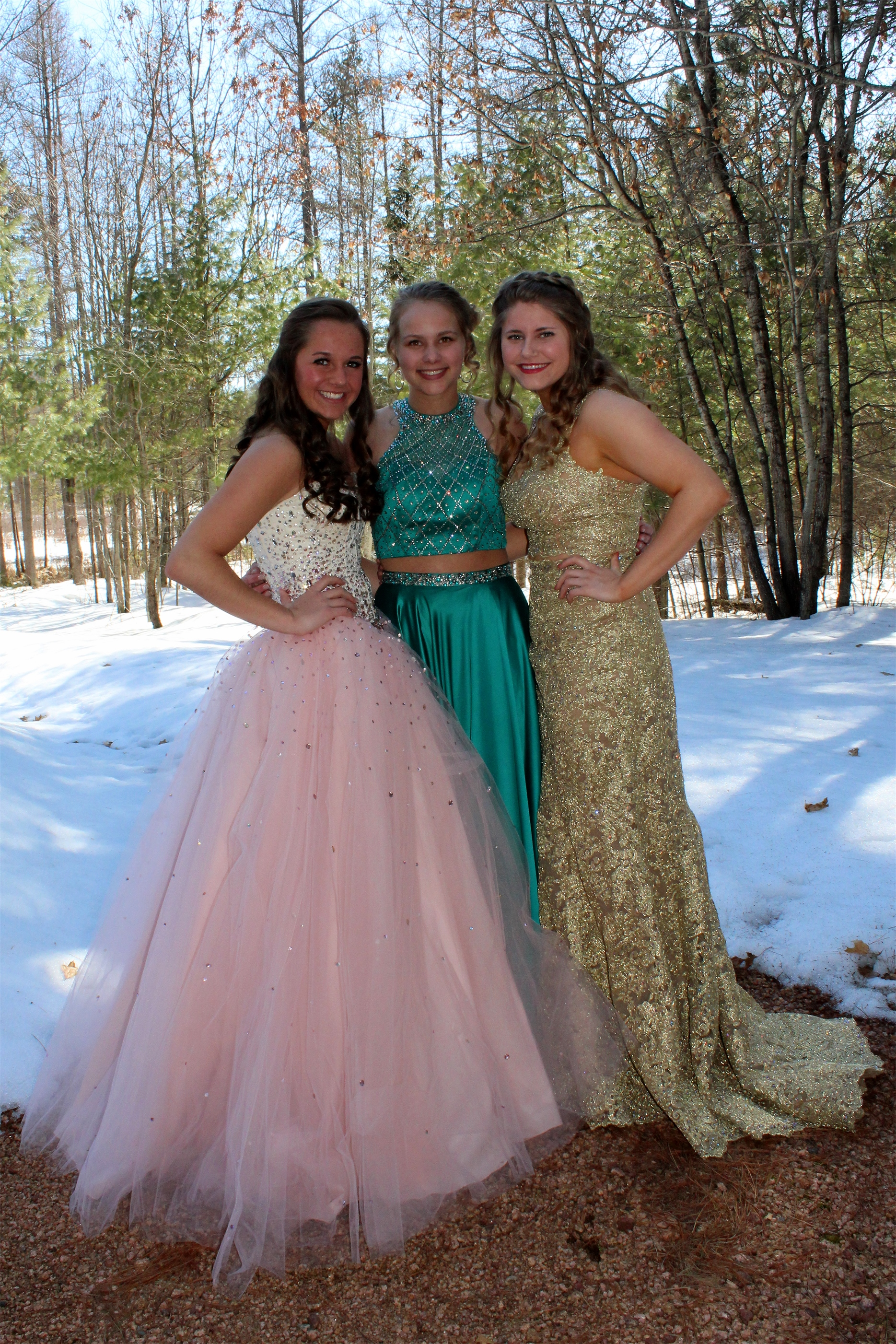 Ashley, Kayla and Taren before their high school prom, held in the Lakeland area. Kim Johnson photo