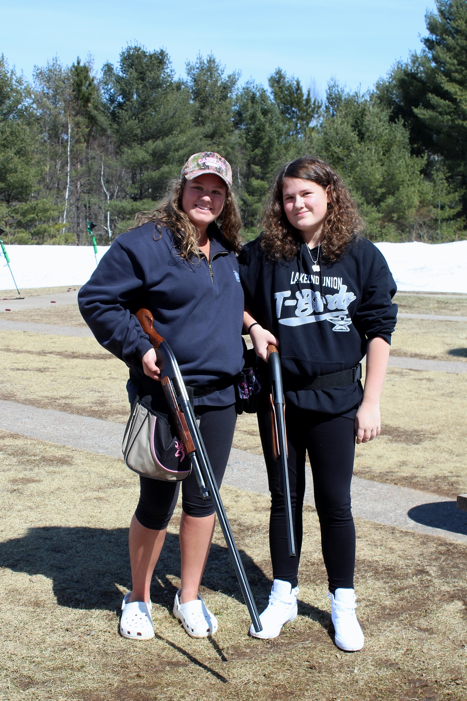 Madison and Payton practice trap shooting at the Minocqua Gun Club. Kim Johnson photo