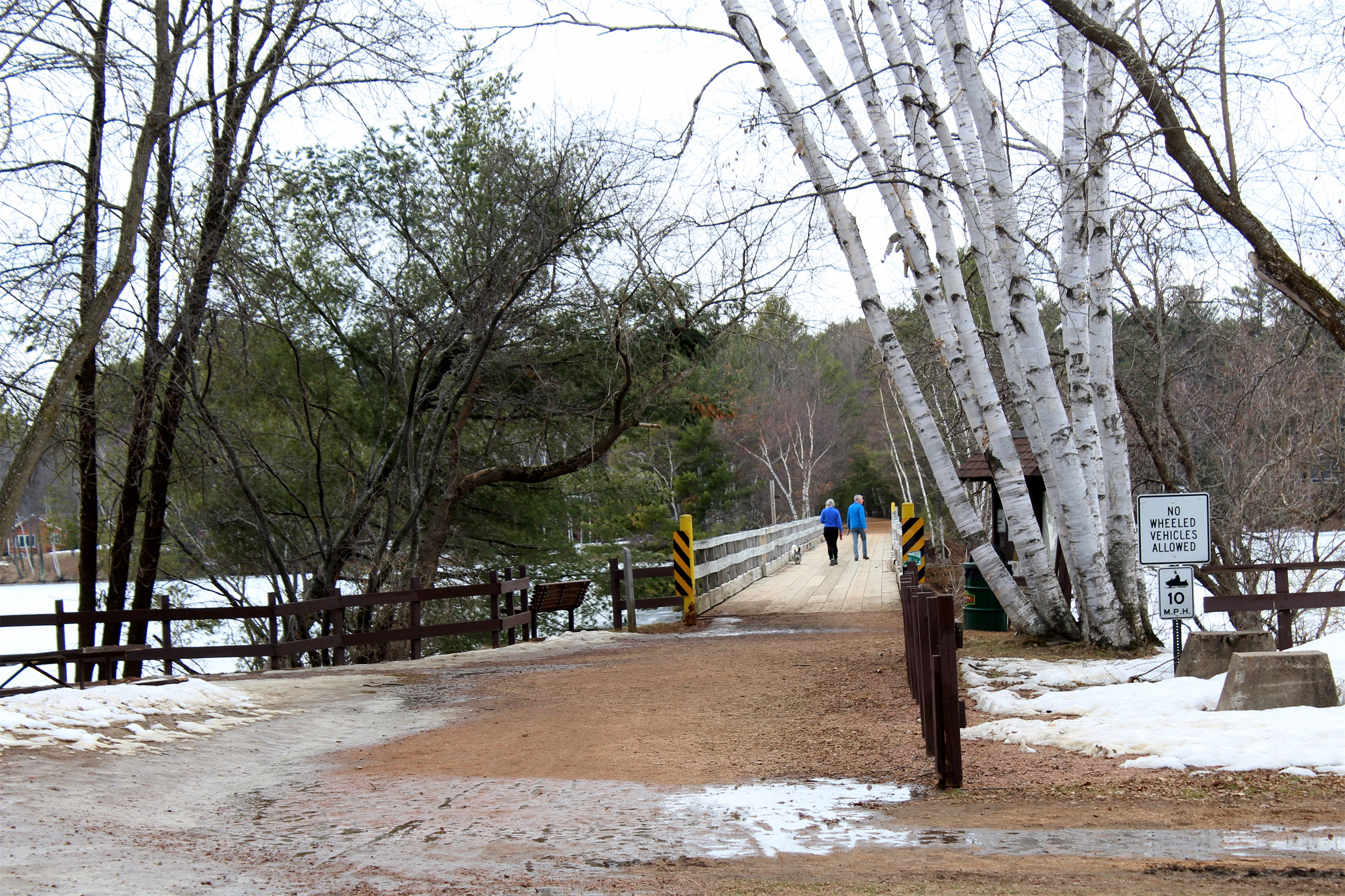 In late April, the Bearskin Trail by the trestle in Minocqua was almost clear of ice and snow. Kim Johnson photo