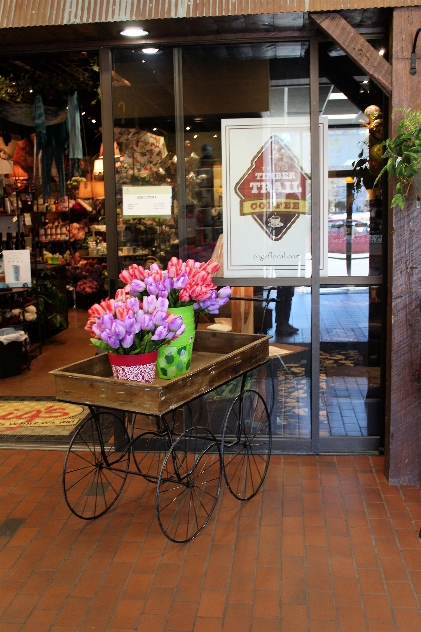 Colorful tulips welcome customers into Trig's Timber Trail Coffee and Trig's Floral Shop in Minocqua. Kim Johnson photo