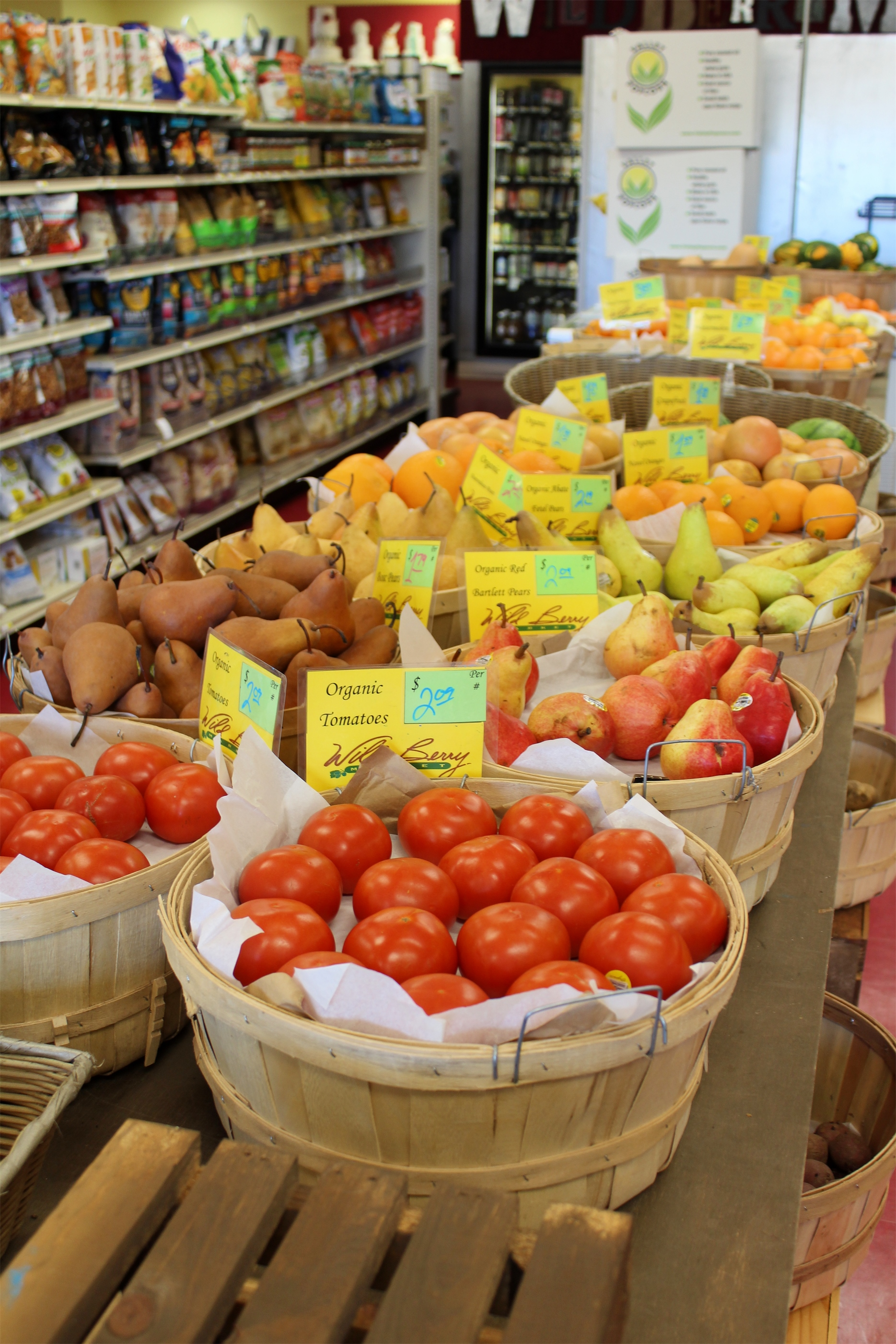 Bright, organic fresh fruits and vegetables line the aisle at Wildberry Market  in Minocqua. Kim Johnson photo