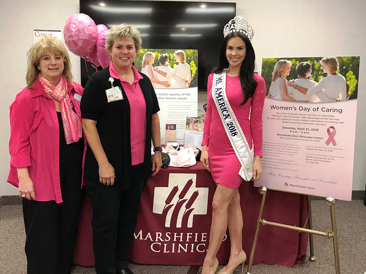 Marshfield Clinic hosted the third annual Women's Day of Caring on April 21. This is a breast cancer survivorship program designed to help patients and community members who survived breast cancer continue their journey to good health. Pictured from left are Shellie Donovan, Marshfield Clinic breast care coordinator; Judi Coppock, manager, Marshfield Clinic oncology services; and Brittany Wagner of Hazelhurst, 2018 Ms. America pageant winner. Wagner attended to show her support and will be partnering with Marshfield Clinic Minocqua Center's clinical dietitian/diabetes educator on diabetes prevention efforts. Submitted photo