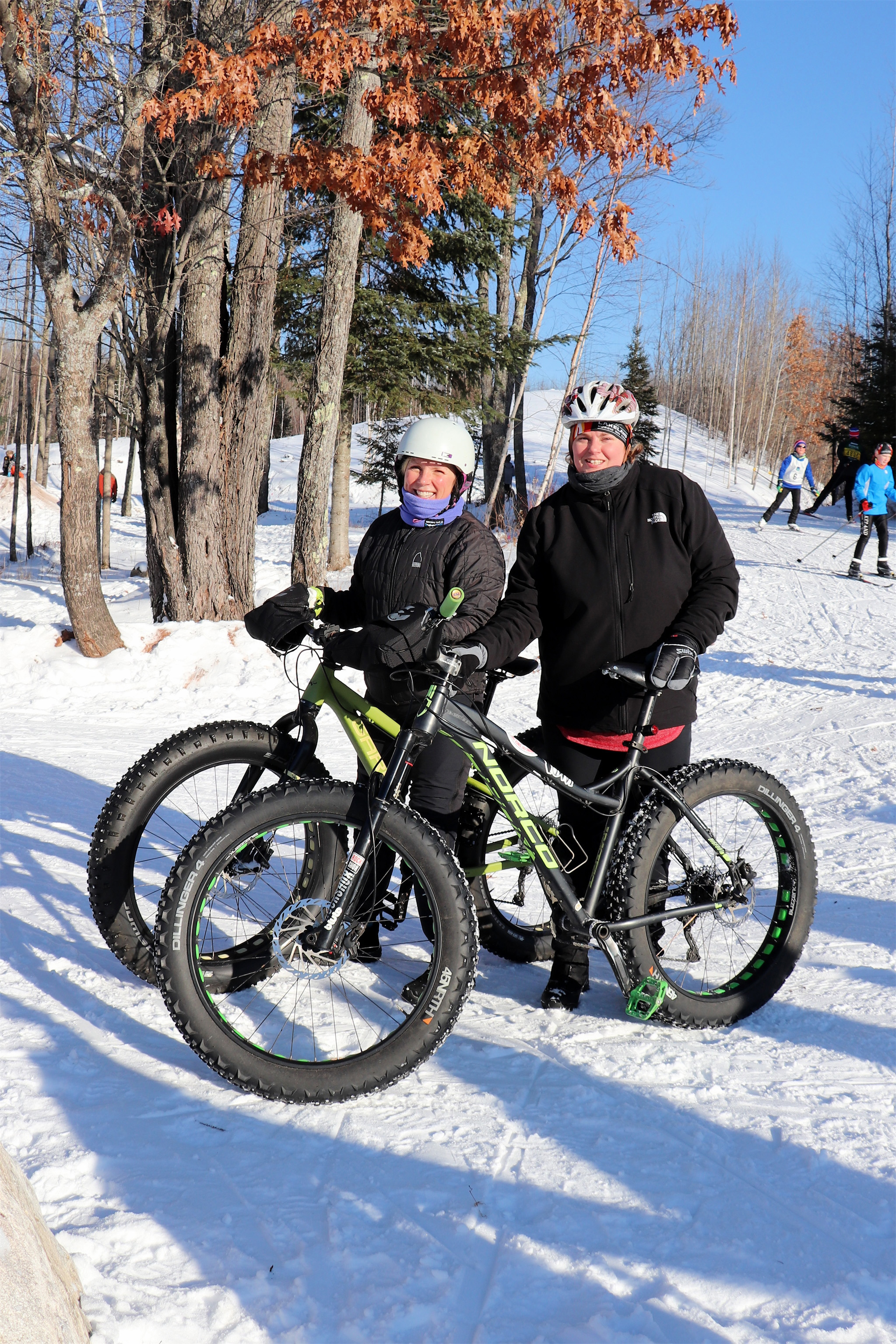 Sue and Chris enjoy a sunny winter day biking on the WinMan Trails, Manitowish Waters. Kim Johnson photo