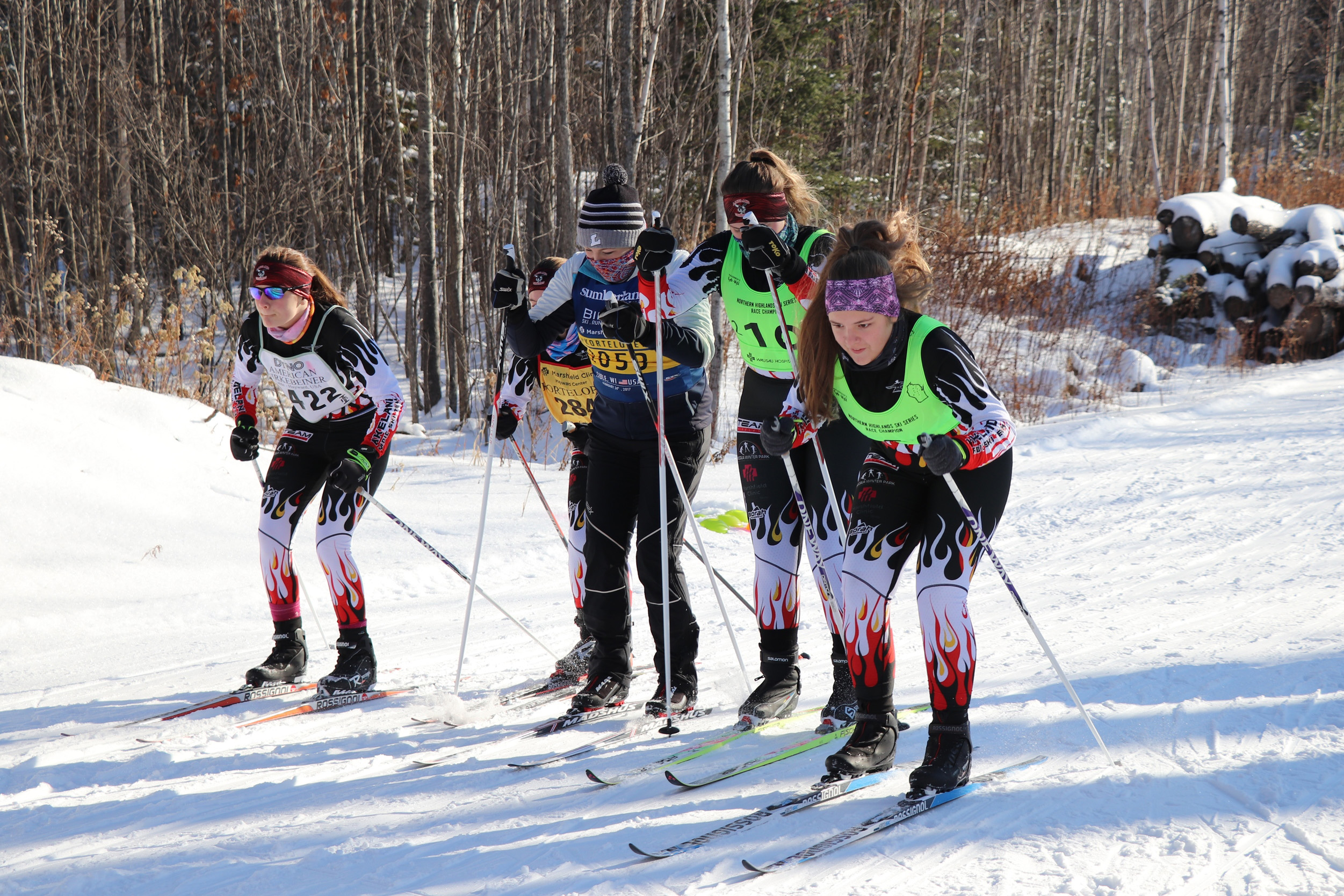 Girls from the Lakeland Nordic ski team have a practice race on the WinMan Trails, Manitowish Waters. Kim Johnson photo