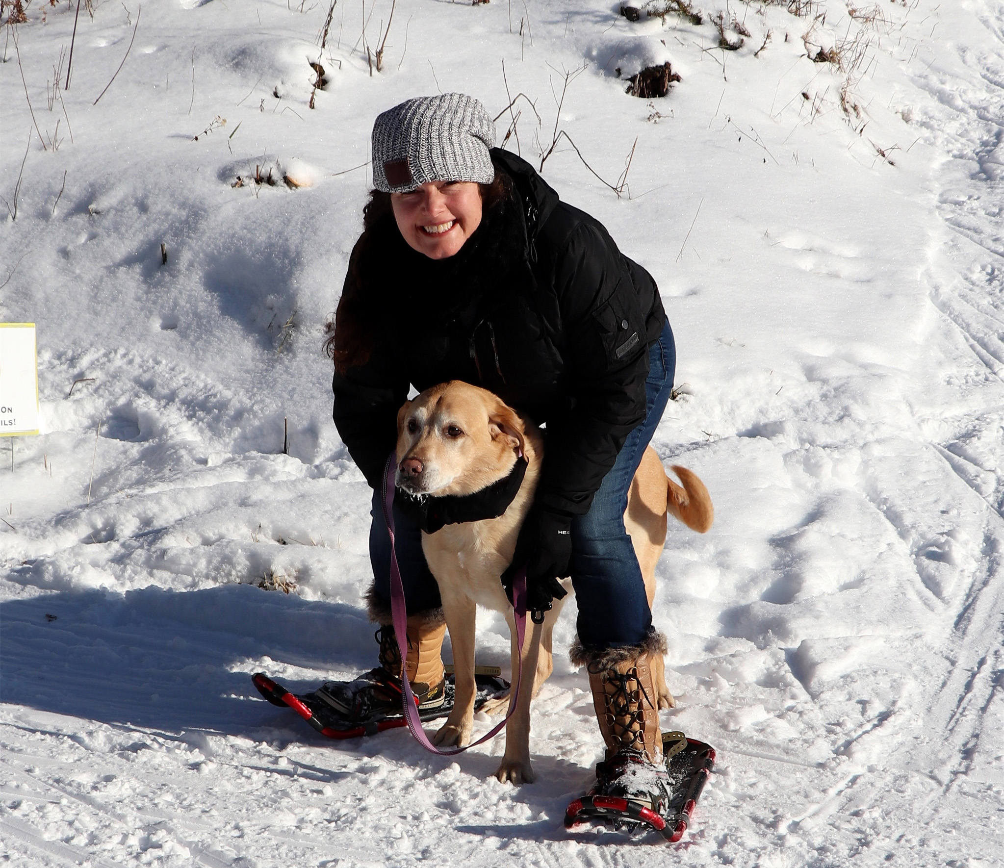 Tess and Barley snowshoe on the trails near Manitowish Waters. Kim Johnson photo