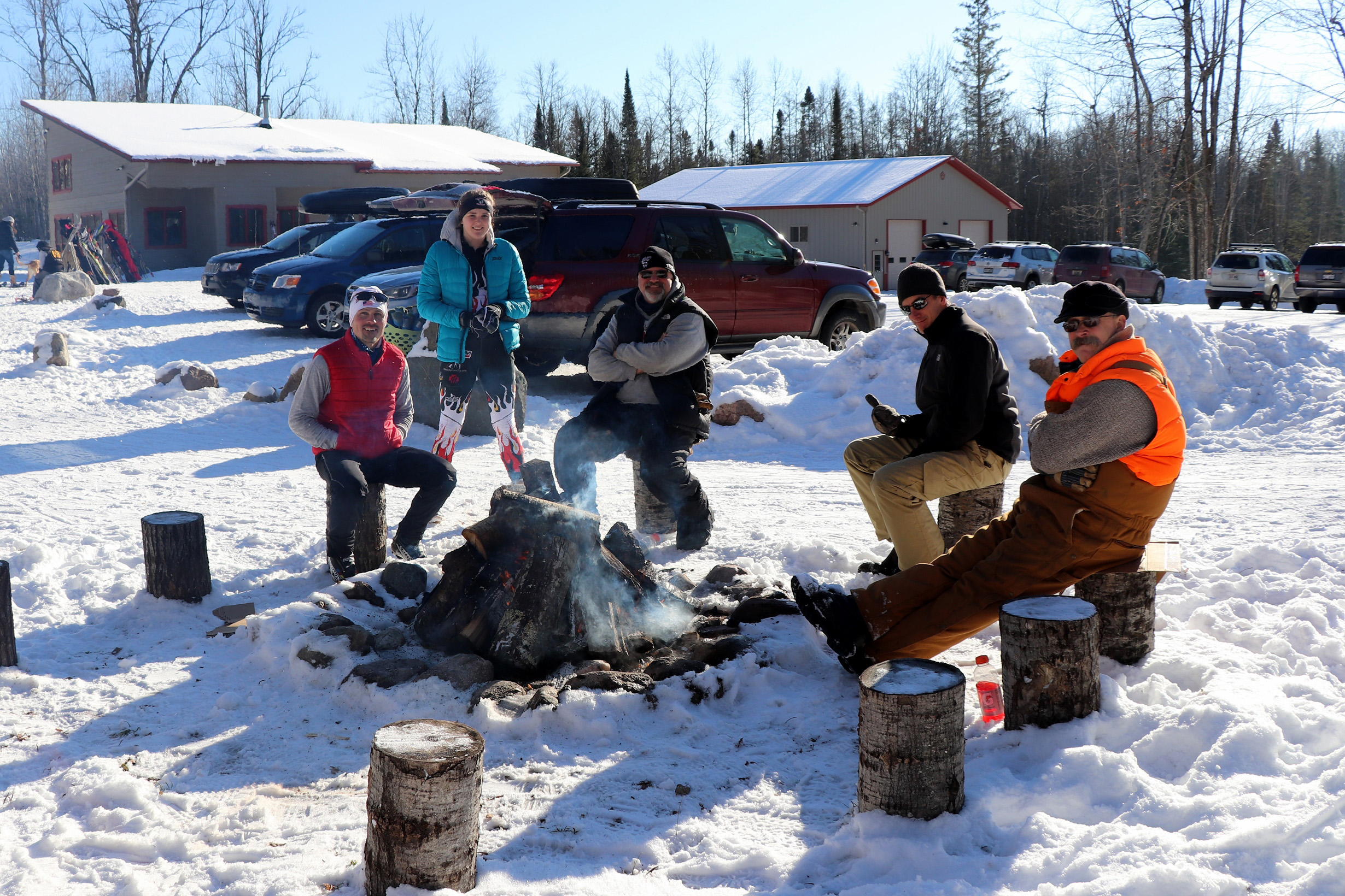 Enjoying an afternoon by the fire at the WinMan Trails, Manitowish Waters. Kim Johnson photo