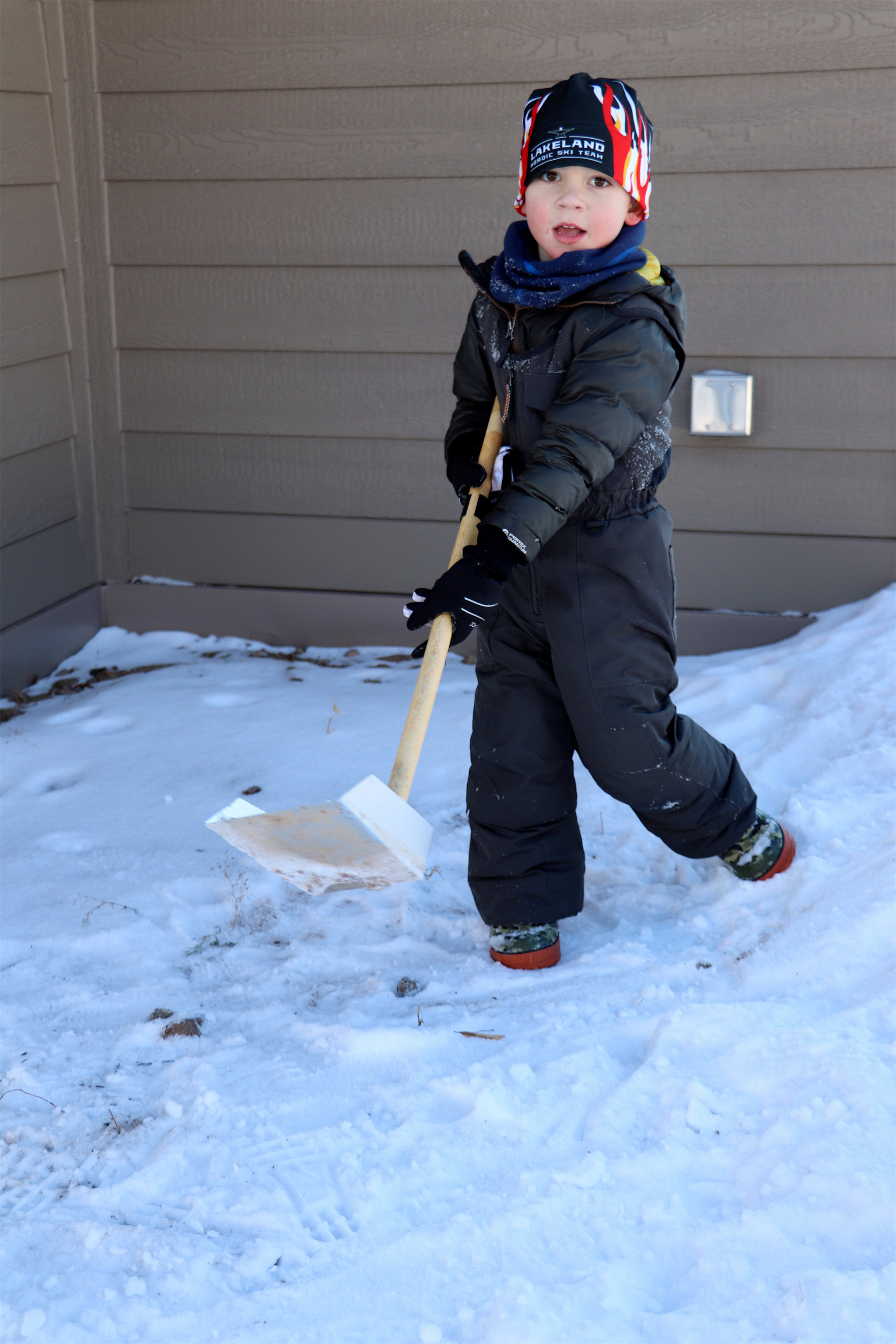 In the Lakeland area, Westley, 3, likes to play in the snow. Kim Johnson photo