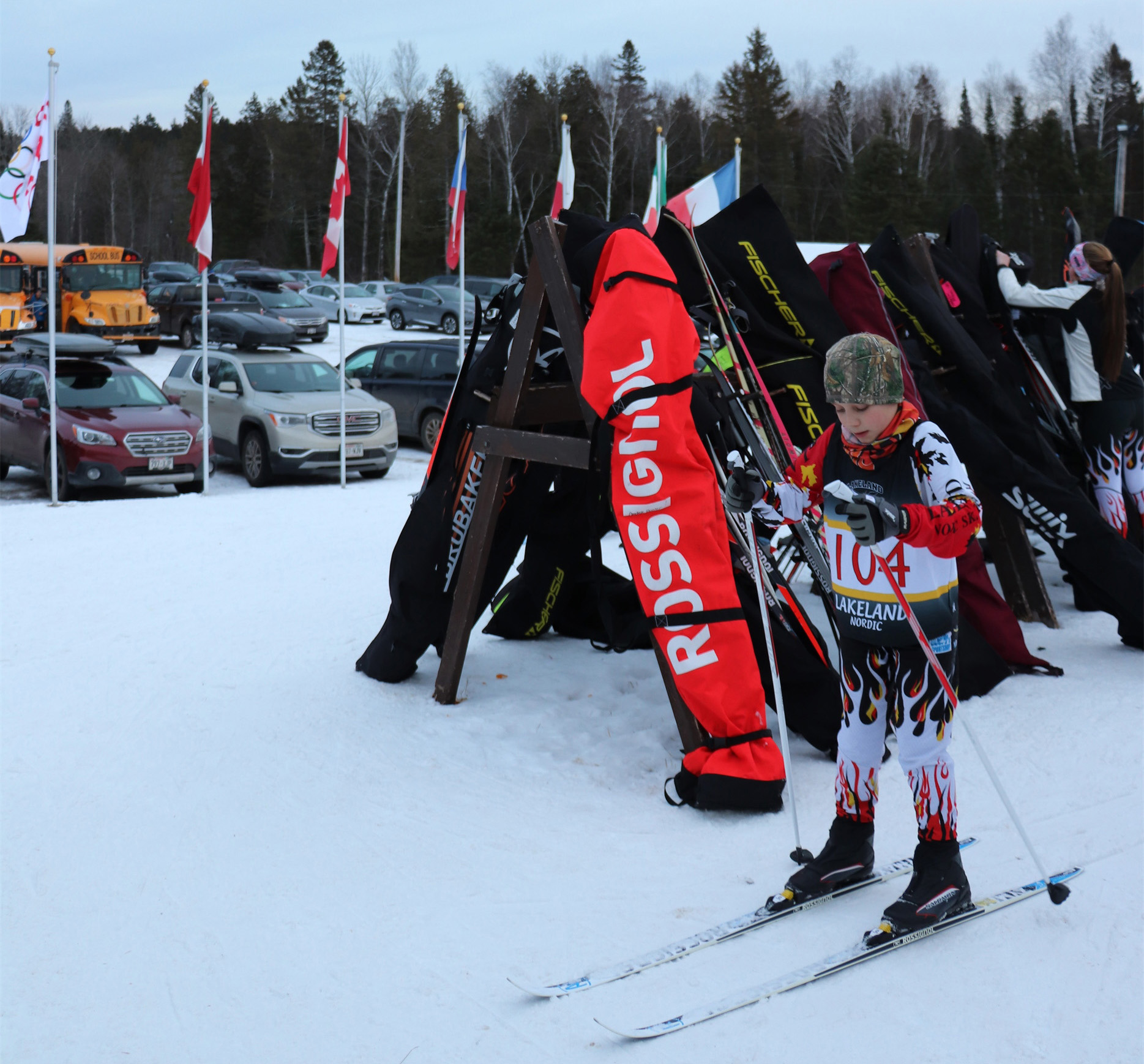 This young skier practices for the middle school ski race at Minocqua Winter Park. Kim Johnson photo