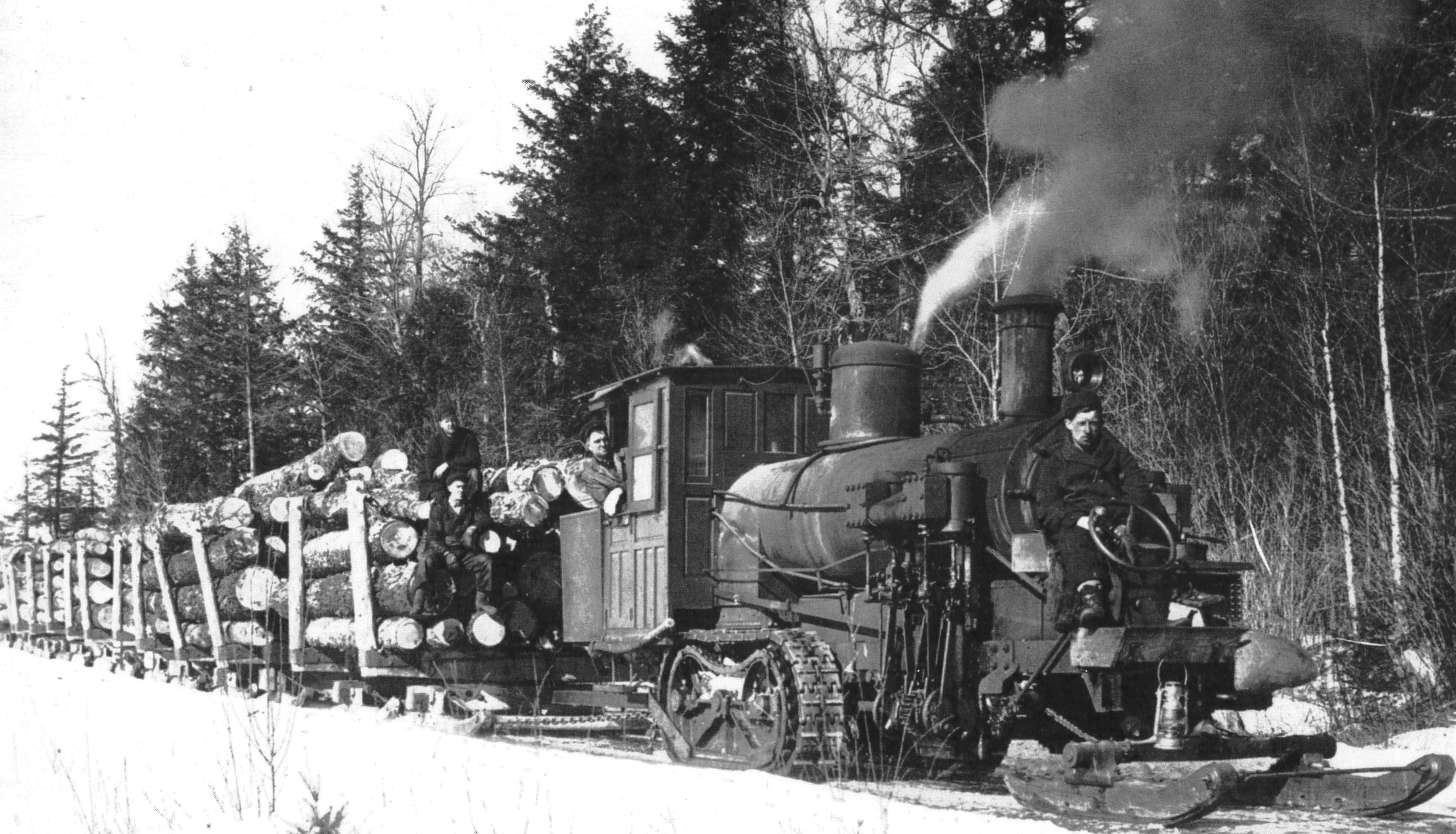 Phoenix steam haulers like this one replaced many of the log hauling teams. Courtesy of Boulder Junction Area Historical Society