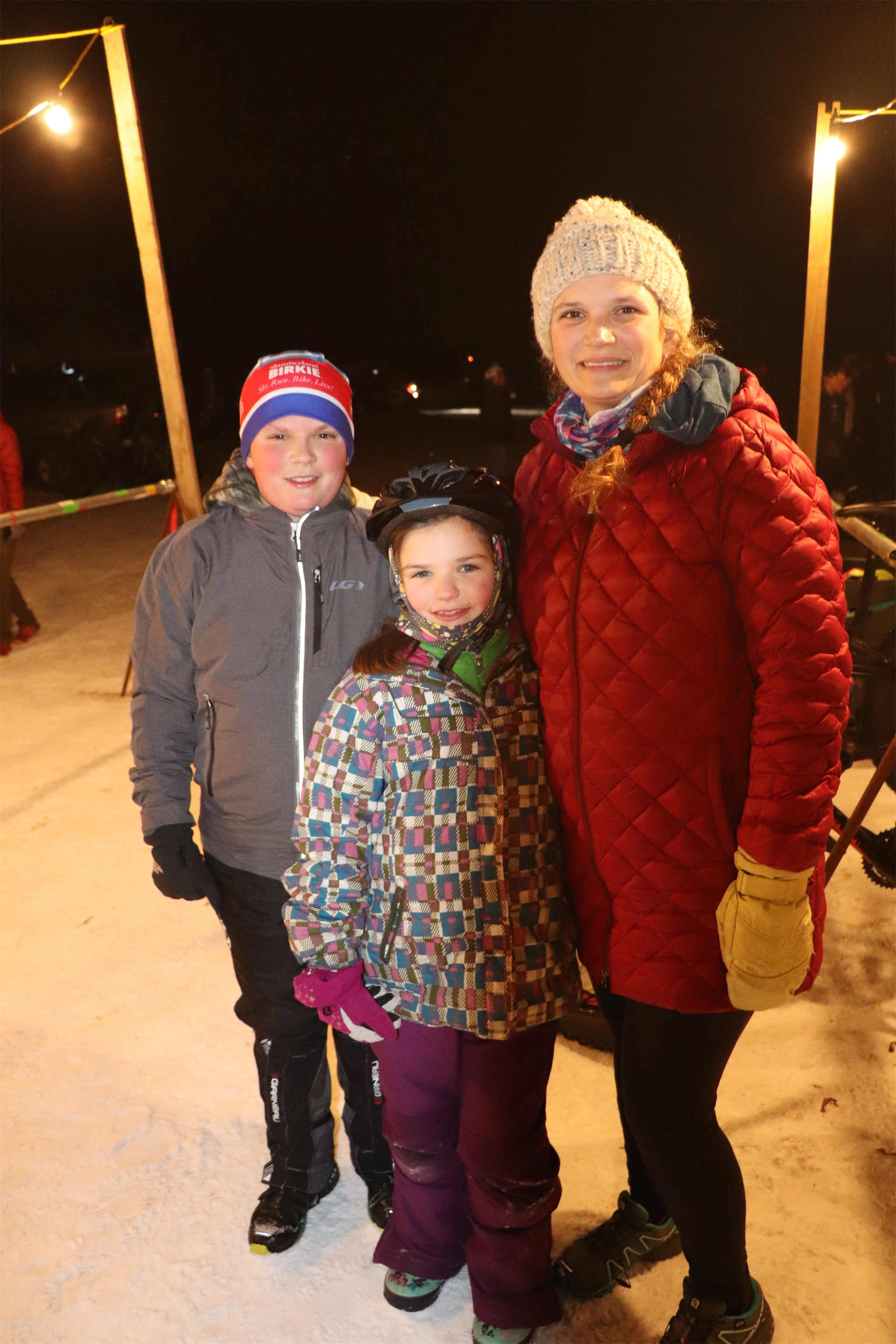 Leslie, Rachelle and Tyler enjoy the evening at the Fat Bike by Candlelight event in Minocqua. Kim Johnson photo