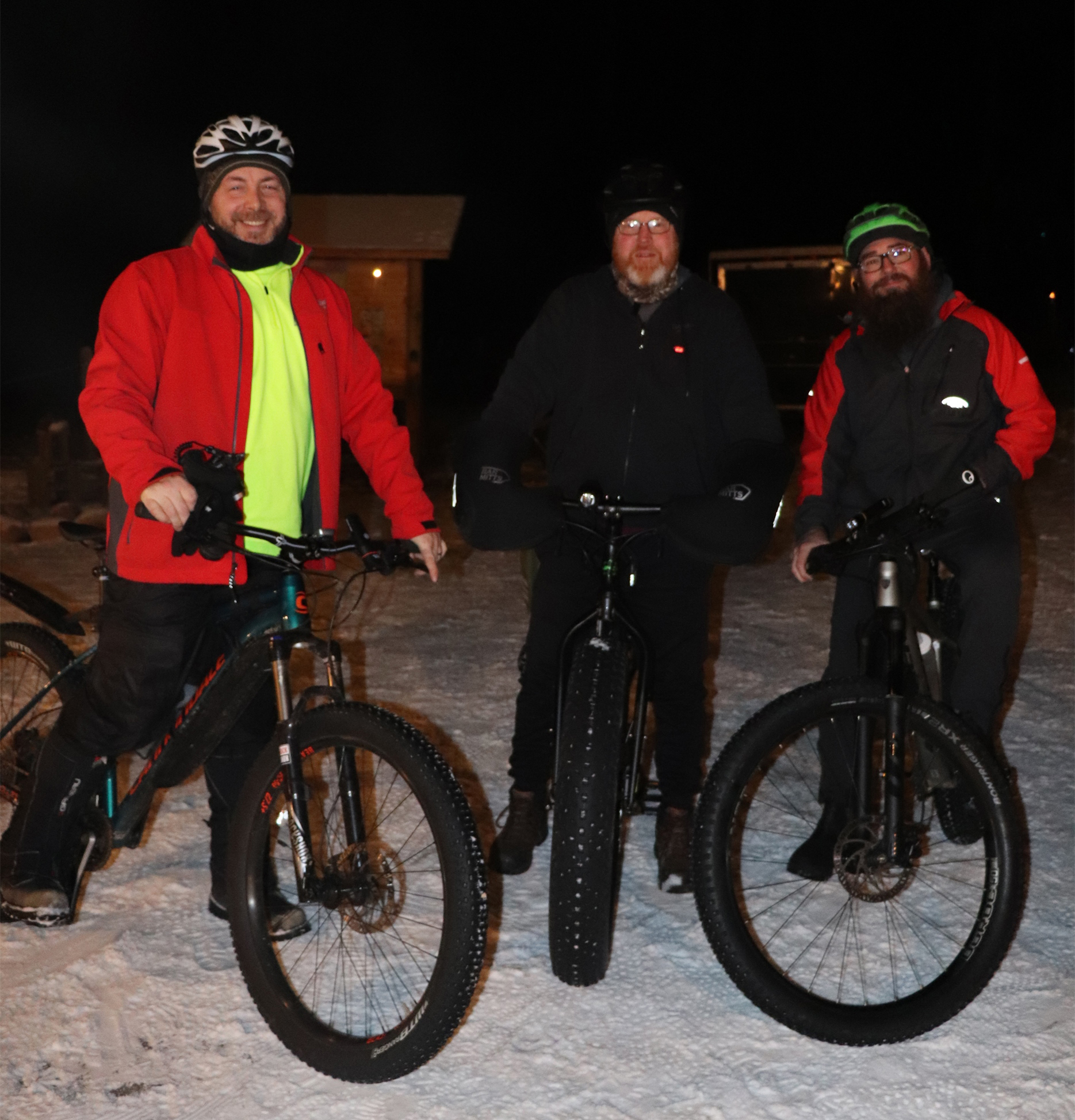 These riders try out the candlelit trail in Minocqua. Kim Johnson photo
