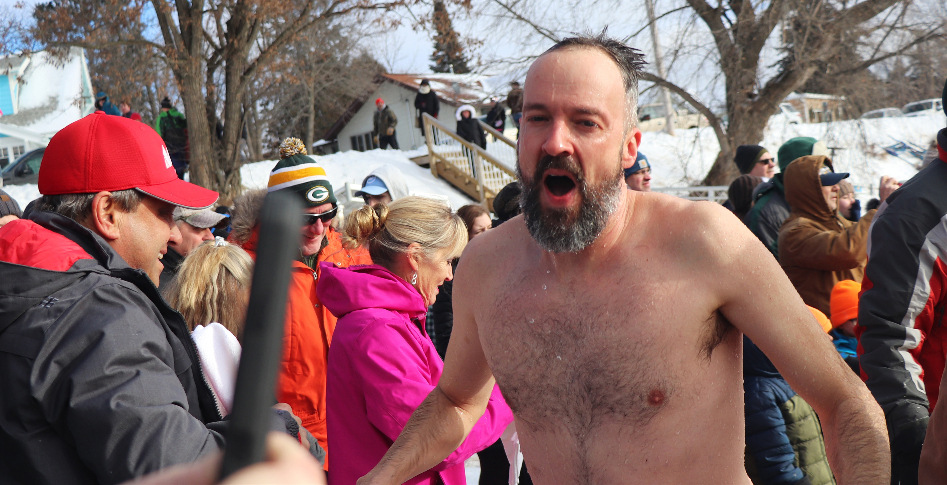 Heading into the Thirsty Whale to warm up after a plunge into Lake Minocqua. Kim Johnson photo