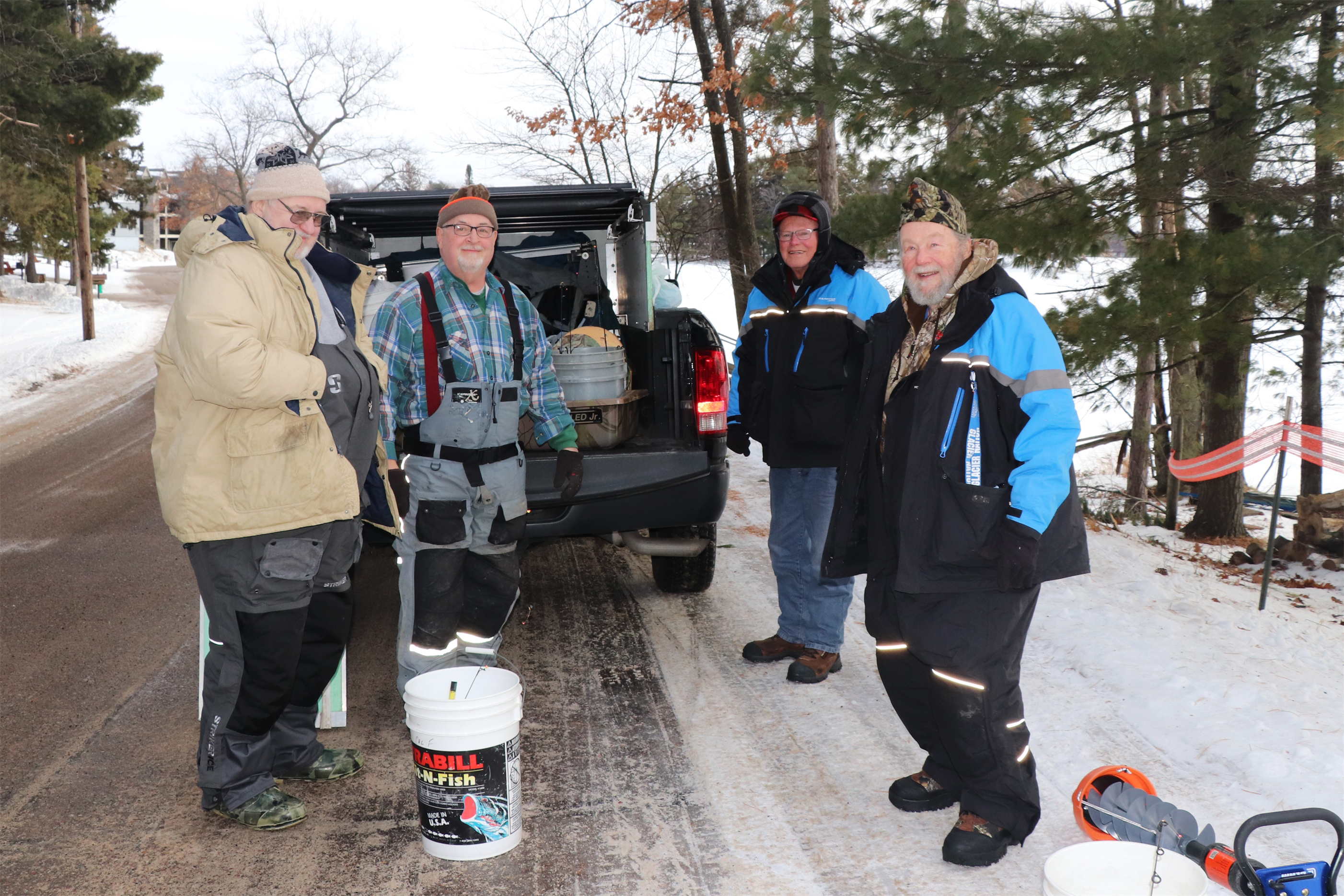 Ice anglers pose for a photo before trying their luck on Lake Minocqua. Kim Johnson photo