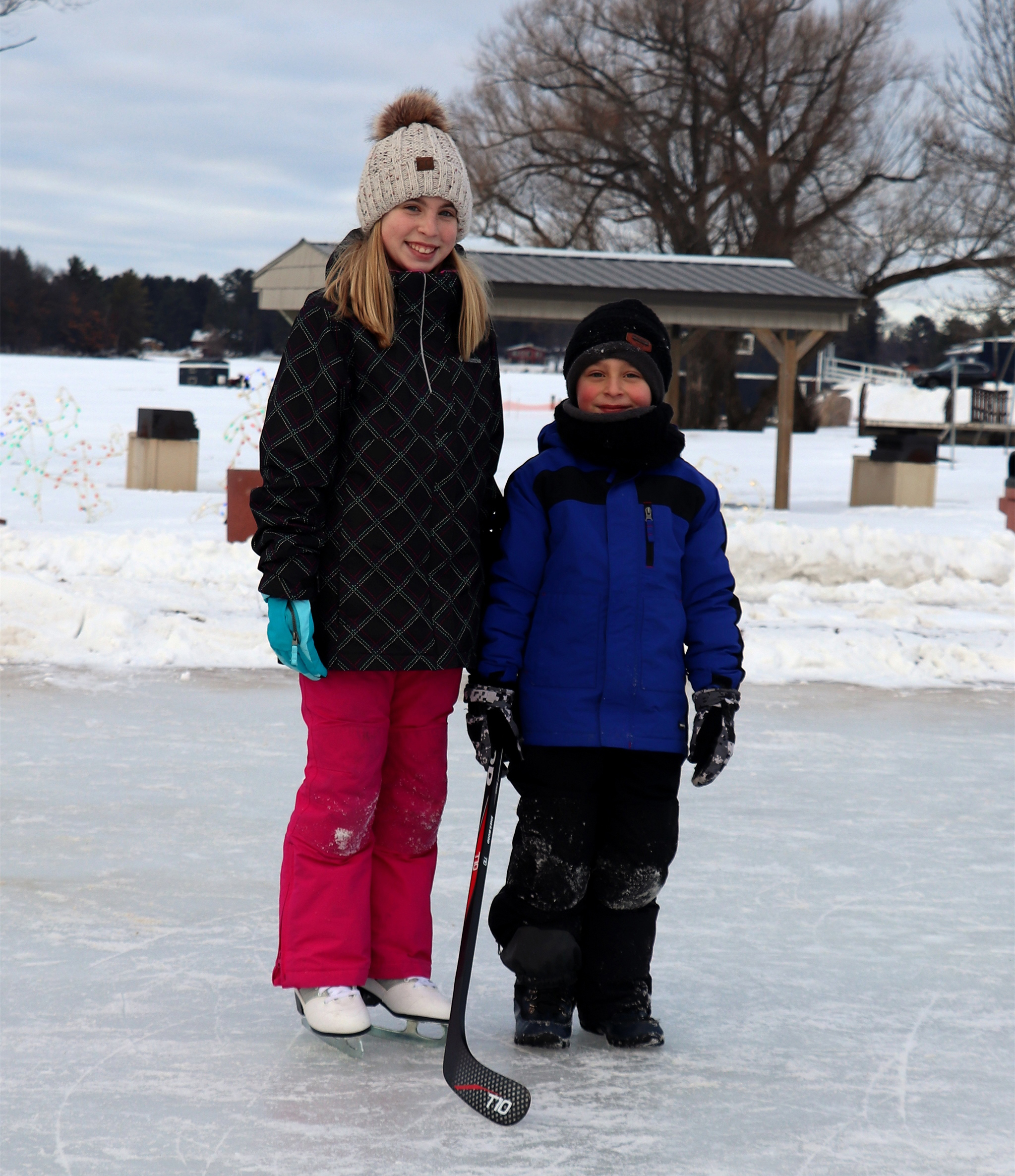 Sydney and her brother Sawyer enjoy skating on the ice at Torpy Park, Minocqua. Kim Johnson photo